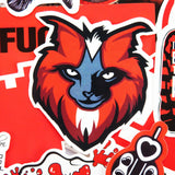 Red Vinyl Stickers Pack (x50) - Fancy - Lifestyle