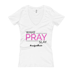 Women's 'Wake Pray Slay' V-Neck Tee (White)