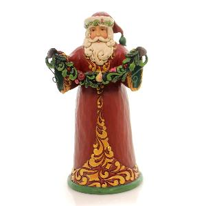 Red and Green Santa Holding Garland Christmas Figurine