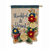 Thankful & Blessed Floral House Flag - Lake Norman Gifts