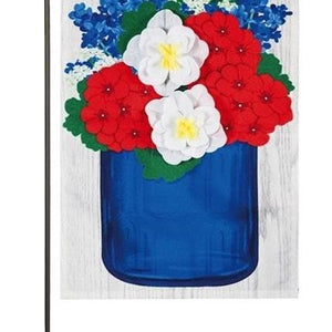 Patriotic Floral Mason Jar Garden Linen Flag - Lake Norman Gifts
