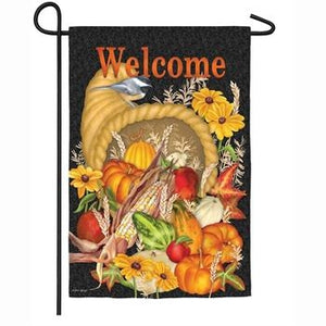 Harvest Cornucopia Garden Suede Flag - Lake Norman Gifts