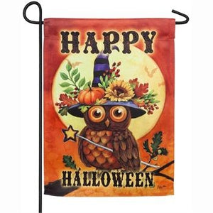 Halloween Owl Garden Suede Flag - Lake Norman Gifts