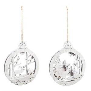 White Woodland Ornaments with Glitter, 2 Assorted