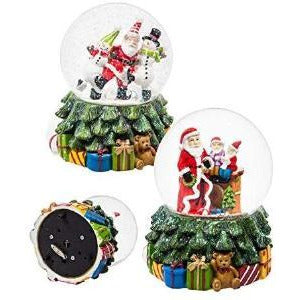 Santa and Snowman Water Globe w/Music, 2 ASST - Lake Norman Gifts