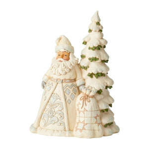 White Woodland Santa with Tall Tree