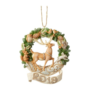 White Woodland Wreath 2019 Dated Ornament - Lake Norman Gifts