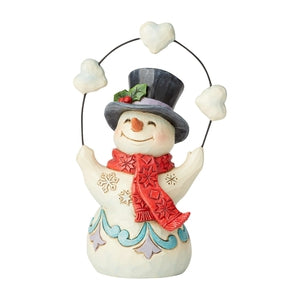 Pint Sized Snowman Juggling Hearts - Lake Norman Gifts
