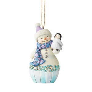 Snowman with Baby Penguin Hanging Ornament - Lake Norman Gifts