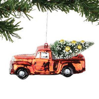 Red Truck Hauling Tree - Lake Norman Gifts