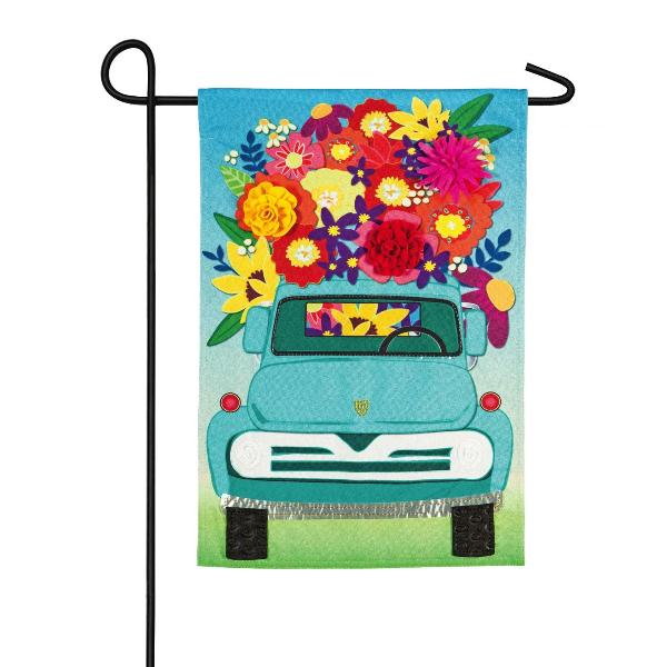 Mint Flower Truck Garden  Flag - Lake Norman Gifts
