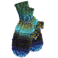 Ombre Knit Mittens - Blue & Green
