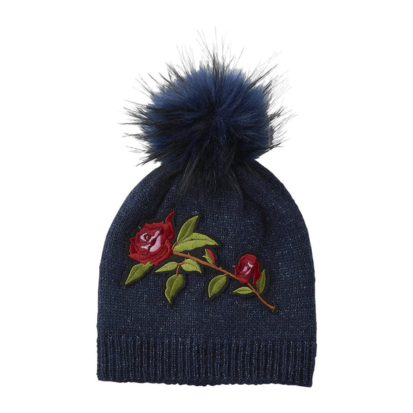 Navy Embellished Rose Beanie