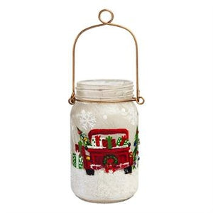 Glass Hand painted Holiday Travels LED Mason Jar - Lake Norman Gifts