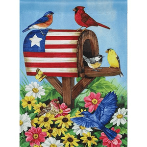 Americana Mailbox with Birds Garden Suede Flag - Lake Norman Gifts