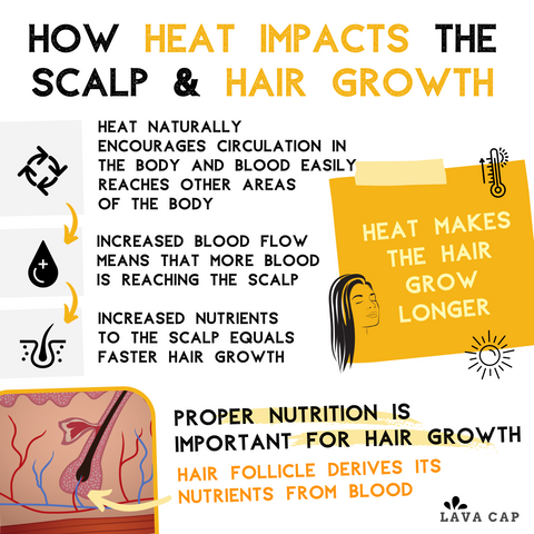 Simple infographic detailing how heat impacts the scalp & hair growth