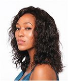 """Woman with 14"""" deep wave Brazialian hair extensions"""