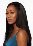 "Woman wearing 18"" straight Brazilian hair extensions"