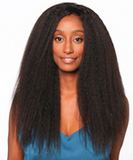 "Woman with 18"" afro blow-out Brazilian hair extensions"