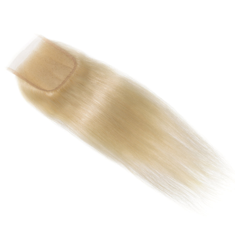 Lace Closure | Bold Bleach Blonde 613 Straight Lace Closure | Luxeriva Bold Bleach Blonde Straight Lace Closure | Colour 613 | Hair Extension Packaging