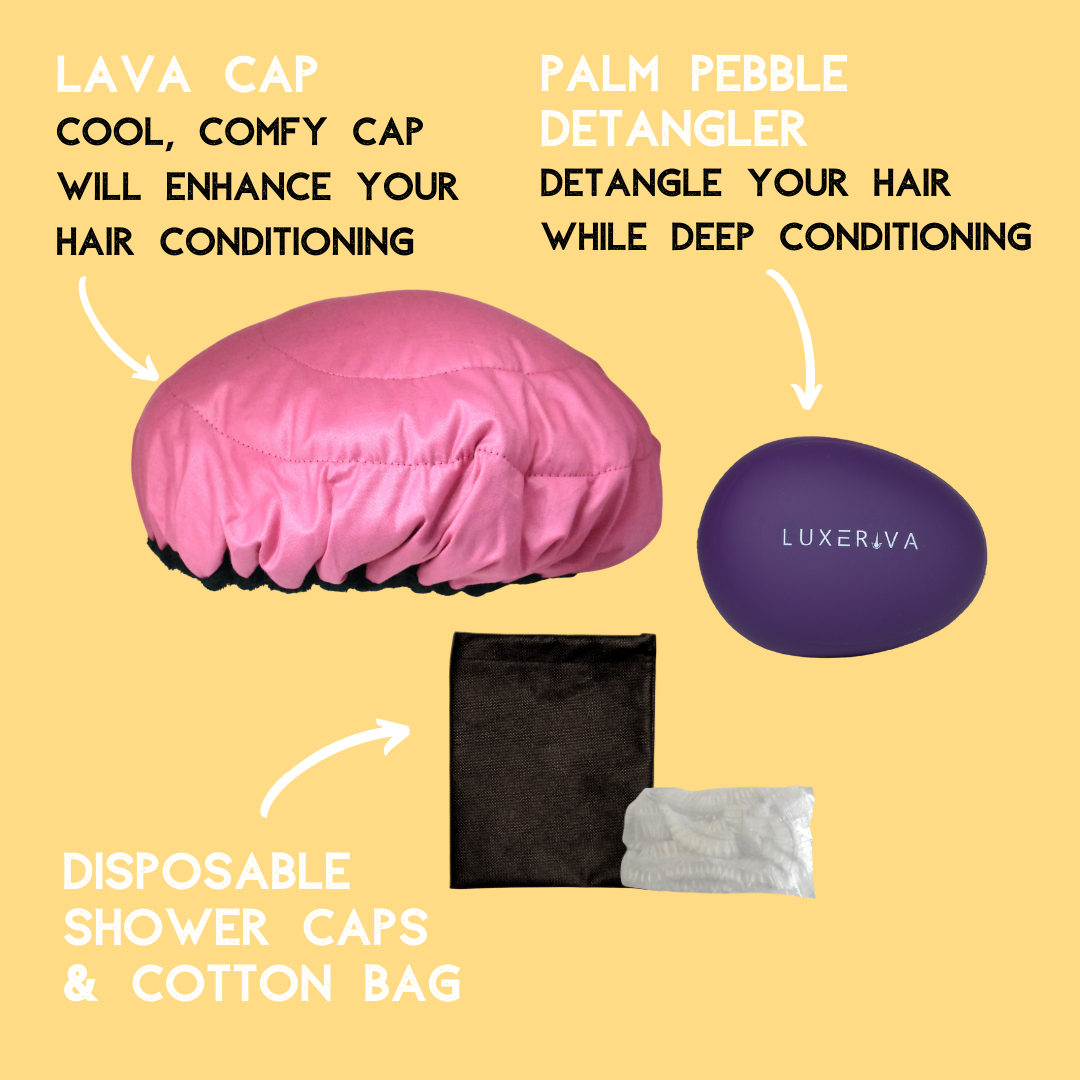 Lava Cap deep conditioning heat cap kits contain a hairbrush, shower caps and a storage bag