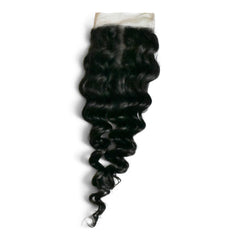 Kinky curly Brazilian hair closure with middle parting