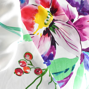 Mulberry Silk Scarf | White Floral