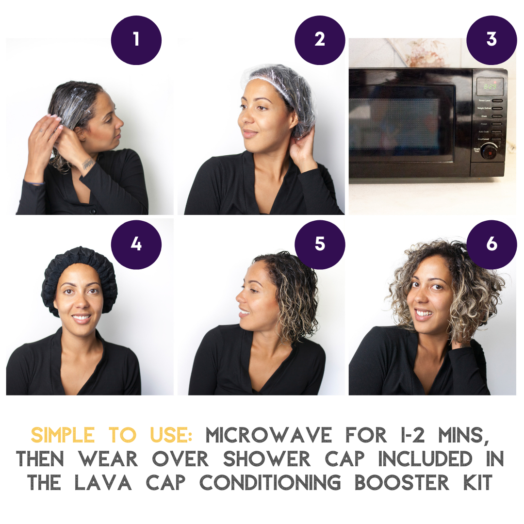 Lava Cap Hot Conditioning Booster - Curly Hair Kit | Black Onyx