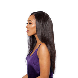 Side view of a straight hairstyle completed with a middle part closure