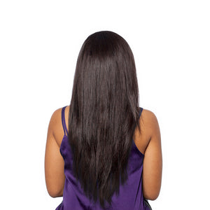 Woman wearing a beautifully sleek straight hairstyle as seen from the back