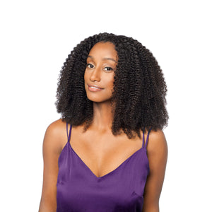 To achieve this stunning afro curly hairstyle pair 2-3 bundles with a middle part closure