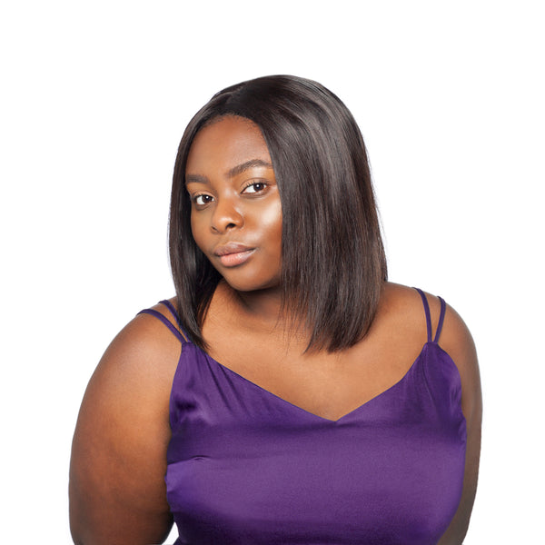 "Sophisticated straight bob hairstyle with middle parting was made using three 10"" bundles and a closure"