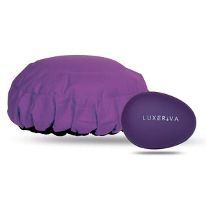 Purple microwavable flaxseed-filled deep conditioning heat cap and purple detangler hairbrush