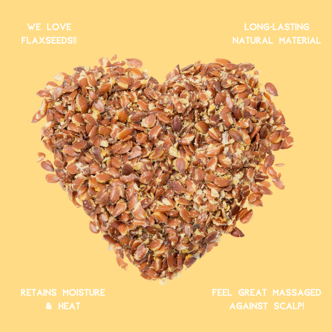 Graphic of flaxseeds (or linseeds) in a heart shape with 4 key benefits stated