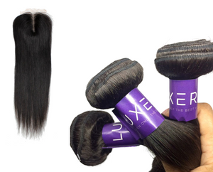 Straight Brazilian Hair Bundles & Closure Pack