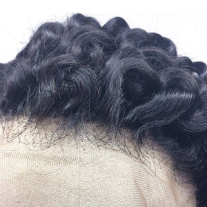 Close up of the kinky curly frontal