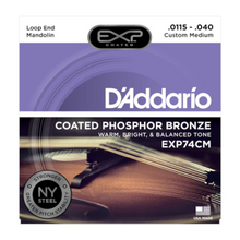 D'ADDARIO EXP74CM Coated Phosphor Bronze Mandolin Strings, Custom Medium, 11.5-40