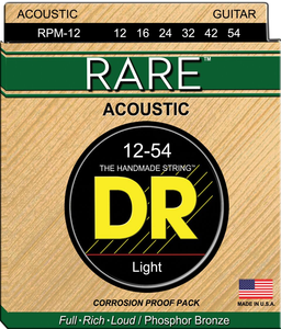 DR RARE PHOSPHOE BRONZE ACOUSTIC GUITAR STRINGS RPM-12 LIGHT 12-54