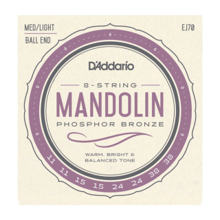 DADDARIO EJ70 MANDOLIN, PHOSPHOR BRONZE, BALL END, Medium/Light, 11-38