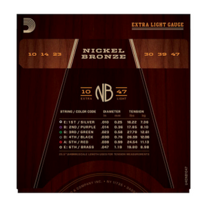 D'ADDARIO ACOUSTIC NB1047 Nickel Bronze Acoustic Guitar Strings, Extra Light, 10-47