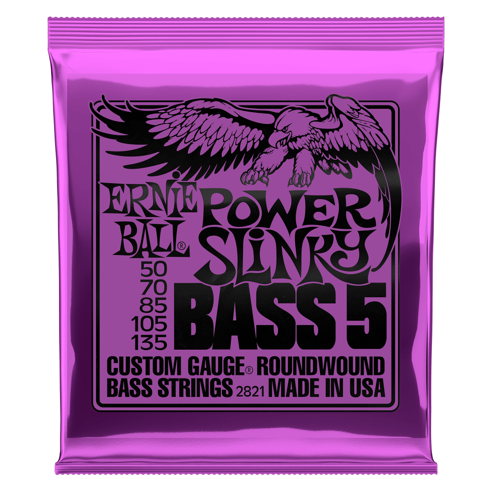 ERNIE BALL POWER SLINKY 5-STRING NICKEL WOUND ELECTRIC BASS STRINGS - 50-135 GAUGE PO2821
