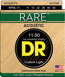 DR RARE PHOSPHOR BRONZE ACOUSTIC GUITAR STRINGSs RPML-11 CUSTOM LIGHT 11-50