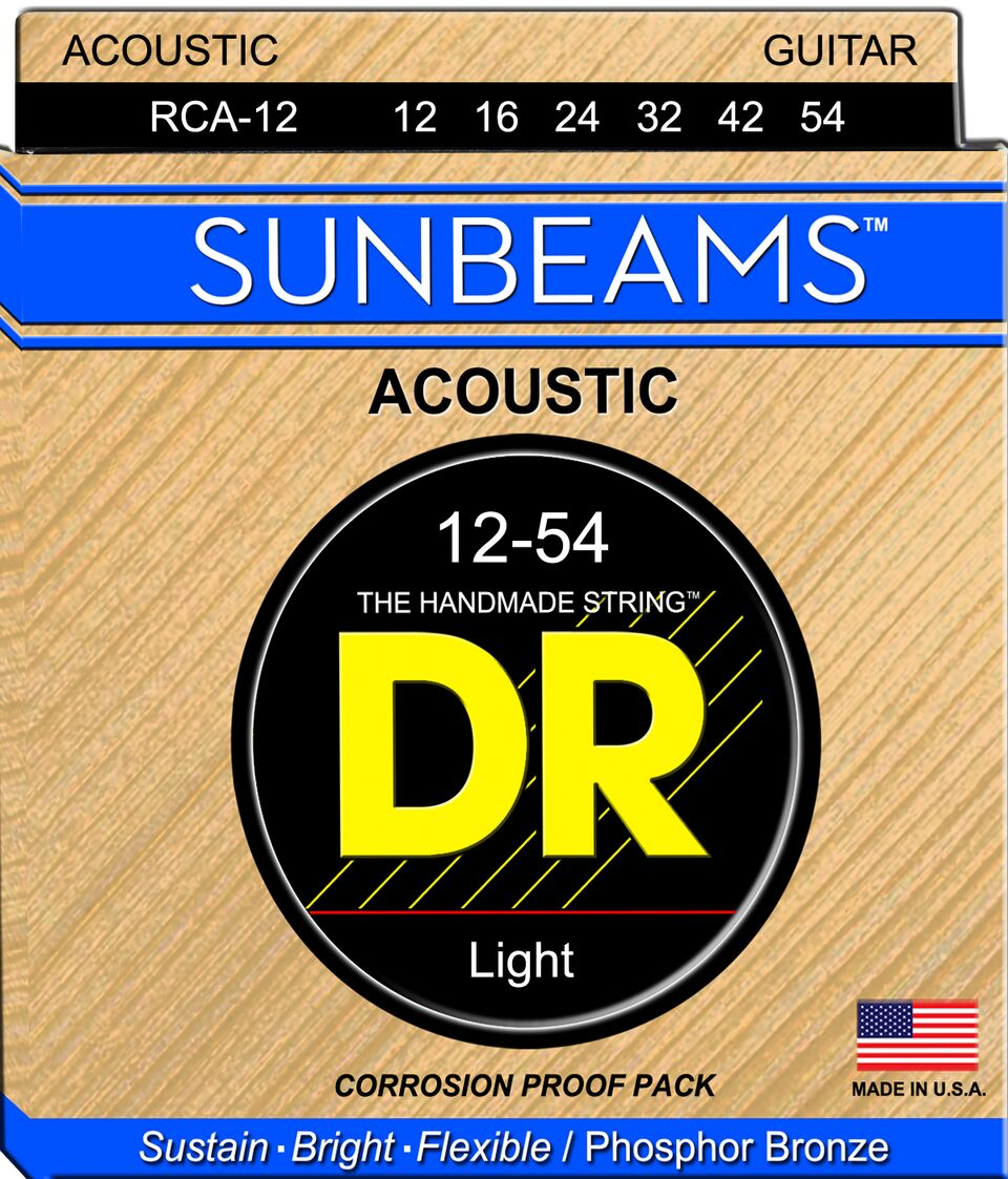 DR SUNBEAM PHOSPHOR BRONZE ACOUSTIC GUITAR STRINGS RCA-12 LIGHT 12-54