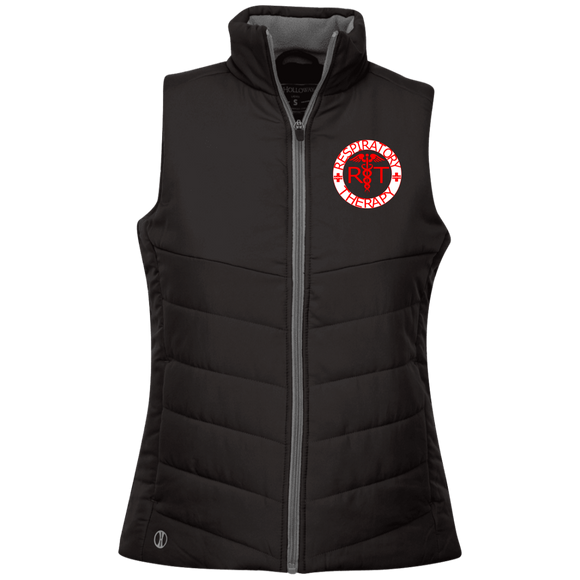 red respiratory therapy logo women's black embroidered quilted vest
