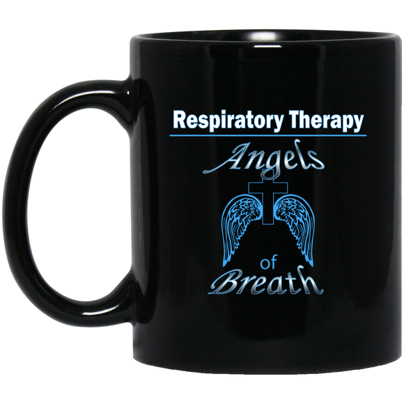 respiratory therapy angels of breath black coffee mug