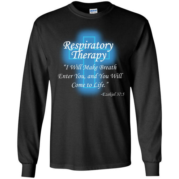 Respiratory therapy breath of life black long sleeve t-shirt