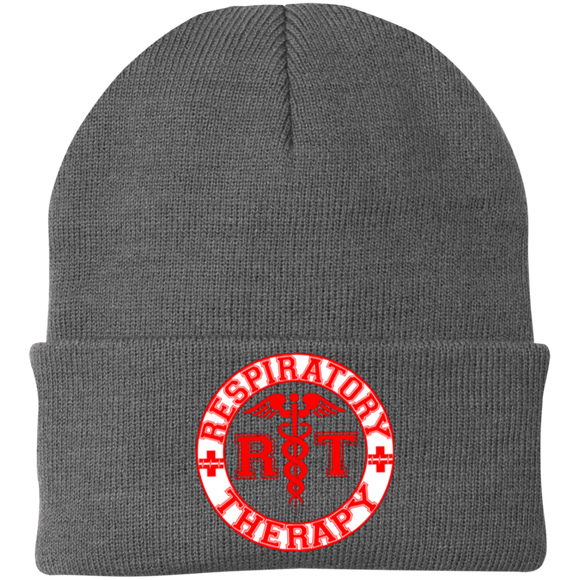 red respiratory therapy logo gray knit hat