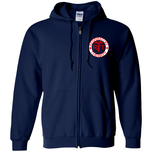 red respiratory therapy logo women's navy blue zip up hoodie