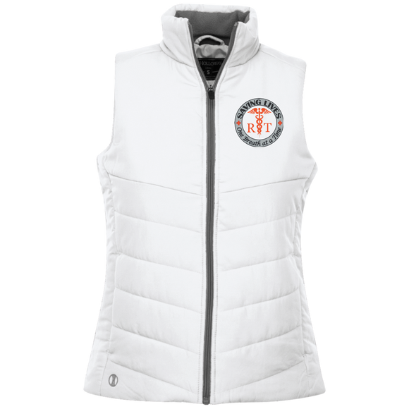 respiratory therapist saving lives one breath at a time white women's quilted vest