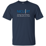 Respiratory therapist NICU RT Saving Tiny Humans one breath at a time navy blue t-shirt